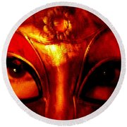 Eyes Behind The Mask Round Beach Towel