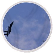 F-15 Flyover At Grants Pass Text Version Round Beach Towel