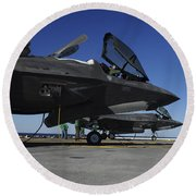 F-35b Lightning II Variants Are Secured Round Beach Towel