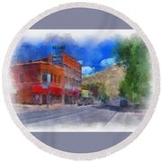 F And S Salida Watercolor Round Beach Towel