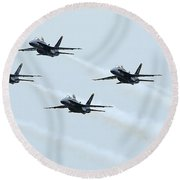 Fa-18a Hornets Fly In A Pyramid Round Beach Towel by Stocktrek Images