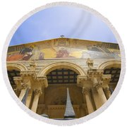 facade of Church of all Nations Jerusalem Round Beach Towel