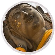 Face Of A Reclining Buddha Round Beach Towel