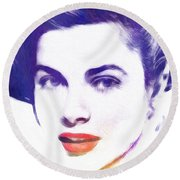 Face Of Beauty Round Beach Towel