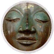 Face Of Bronze Buddha  Round Beach Towel