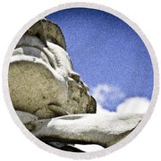 Face Of Courage Round Beach Towel
