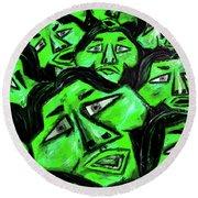 Faces - Green Round Beach Towel