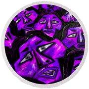 Faces - Purple Round Beach Towel