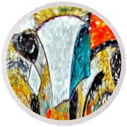 Faces Come Out Of The Rain ... Round Beach Towel