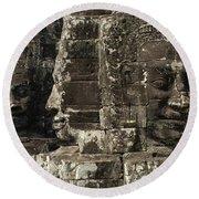 Faces Of Banyon Angkor Wat Cambodia Round Beach Towel