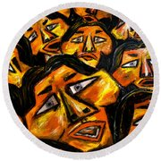 Faces Yellow Round Beach Towel