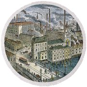 Factories: England, 1879 Round Beach Towel