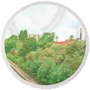 Factory And Trainlines Round Beach Towel