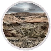 Faded Painted Hills Round Beach Towel