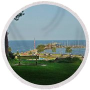 Fairhope Pier 2012 Round Beach Towel