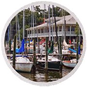 Fairhope Yacht Club Sailboat Masts Round Beach Towel