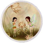 Fairies In The Garden Round Beach Towel