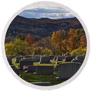Fairview Cemetery In Autumn Round Beach Towel