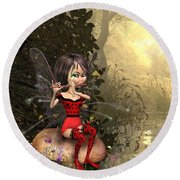 Forest Fairy Playing The Flute Round Beach Towel