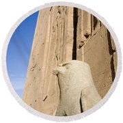 Falcon Statue At Edfu Round Beach Towel by Darcy Michaelchuk