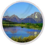 Fall At Oxbow Bend Round Beach Towel