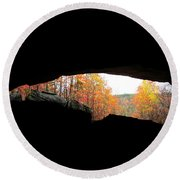 Fall At The Cave Round Beach Towel