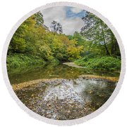 Fall At The Low Stream Round Beach Towel