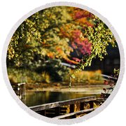 Fall At Tyler State Park Round Beach Towel