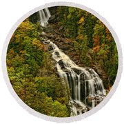 Fall At Whitewater Falls  Round Beach Towel
