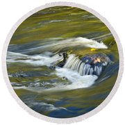 Fall Colors In River Rapids Round Beach Towel
