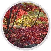 Fall Comes To New England Round Beach Towel