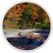Fall Falls Round Beach Towel