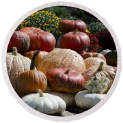 Fall Harvest Colorful Gourds 7965 Round Beach Towel