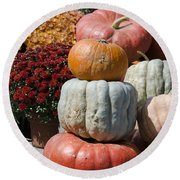 Fall Harvest Colorful Gourds 7968 Round Beach Towel