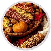 Fall Harvest Round Beach Towel