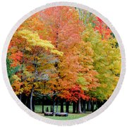 Fall In Michigan Round Beach Towel by Optical Playground By MP Ray