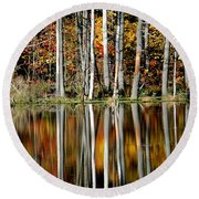 Fall In New York Round Beach Towel
