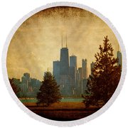 Fall In The City Round Beach Towel