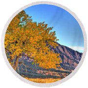 Fall In The Flatirons Round Beach Towel