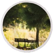 Fall In The Pines Round Beach Towel