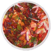Fall Leaves - Digital Art Round Beach Towel