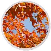 Fall Leaves Art Prints Autumn Red Orange Leaves Blue Sky Round Beach Towel