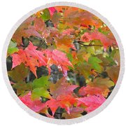 Fall Leaves Filtered Round Beach Towel