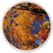 Fall Maple Treetops Round Beach Towel