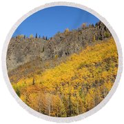 Fall Mountains Round Beach Towel