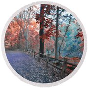 Fall On Forbidden Drive Round Beach Towel