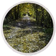 Fall On Macomb Orchard Trail Round Beach Towel