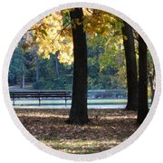 Fall Park Bench 1 Round Beach Towel