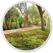 Fall Park Round Beach Towel