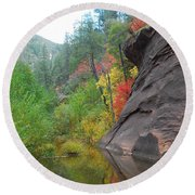 Fall Peeks From Behind The Rocks Round Beach Towel